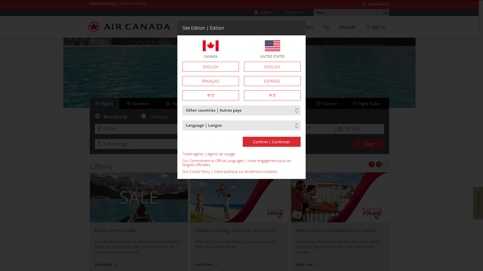 site internet français air canada