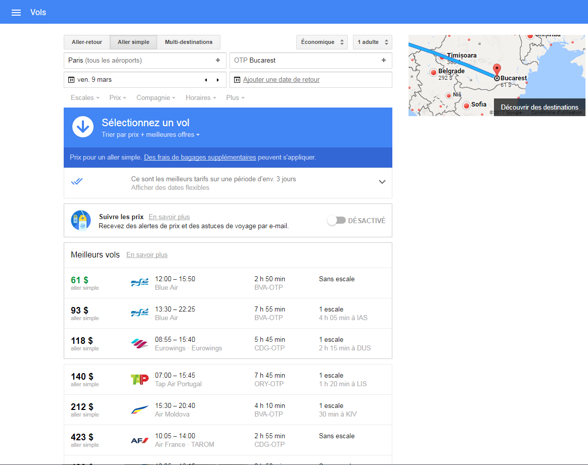google flight paris roumanie