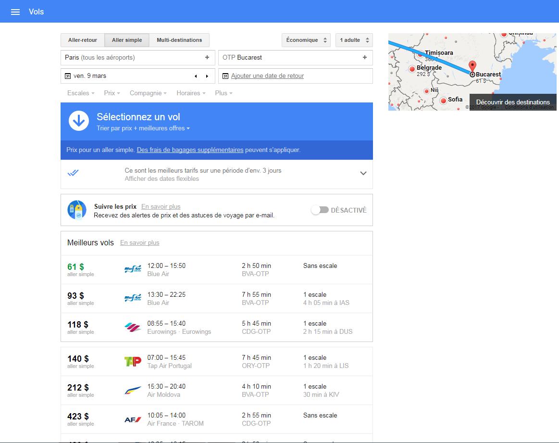google flight paris roumanie