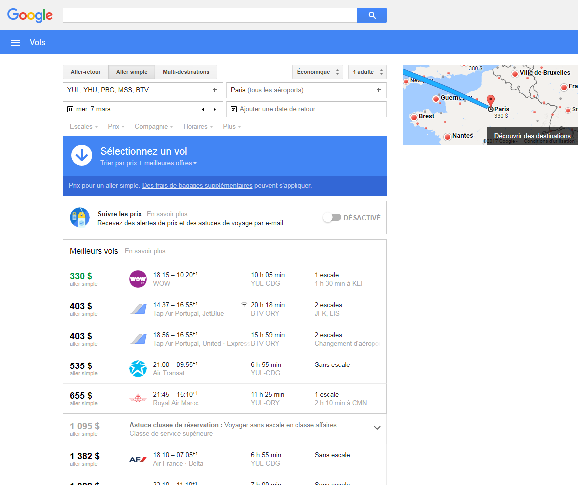 google flight paris
