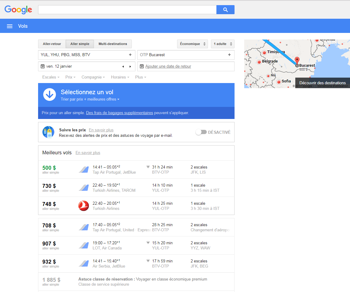 google flight roumanie