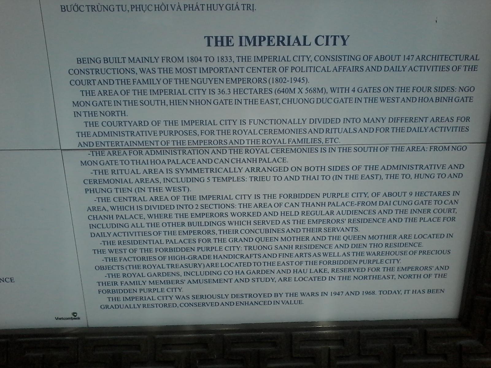 Histoire cité impériale hué