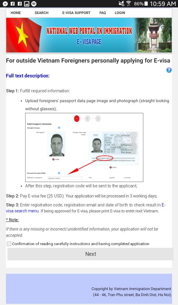 E-visa pour le vietnam