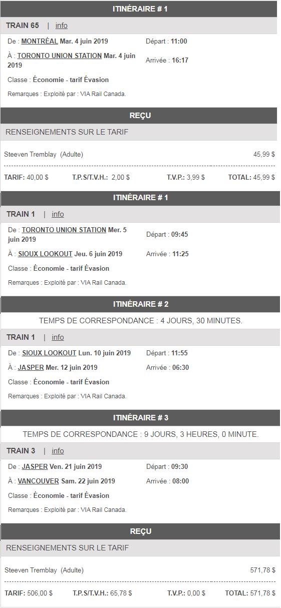 train pour se rendre à Vancouver