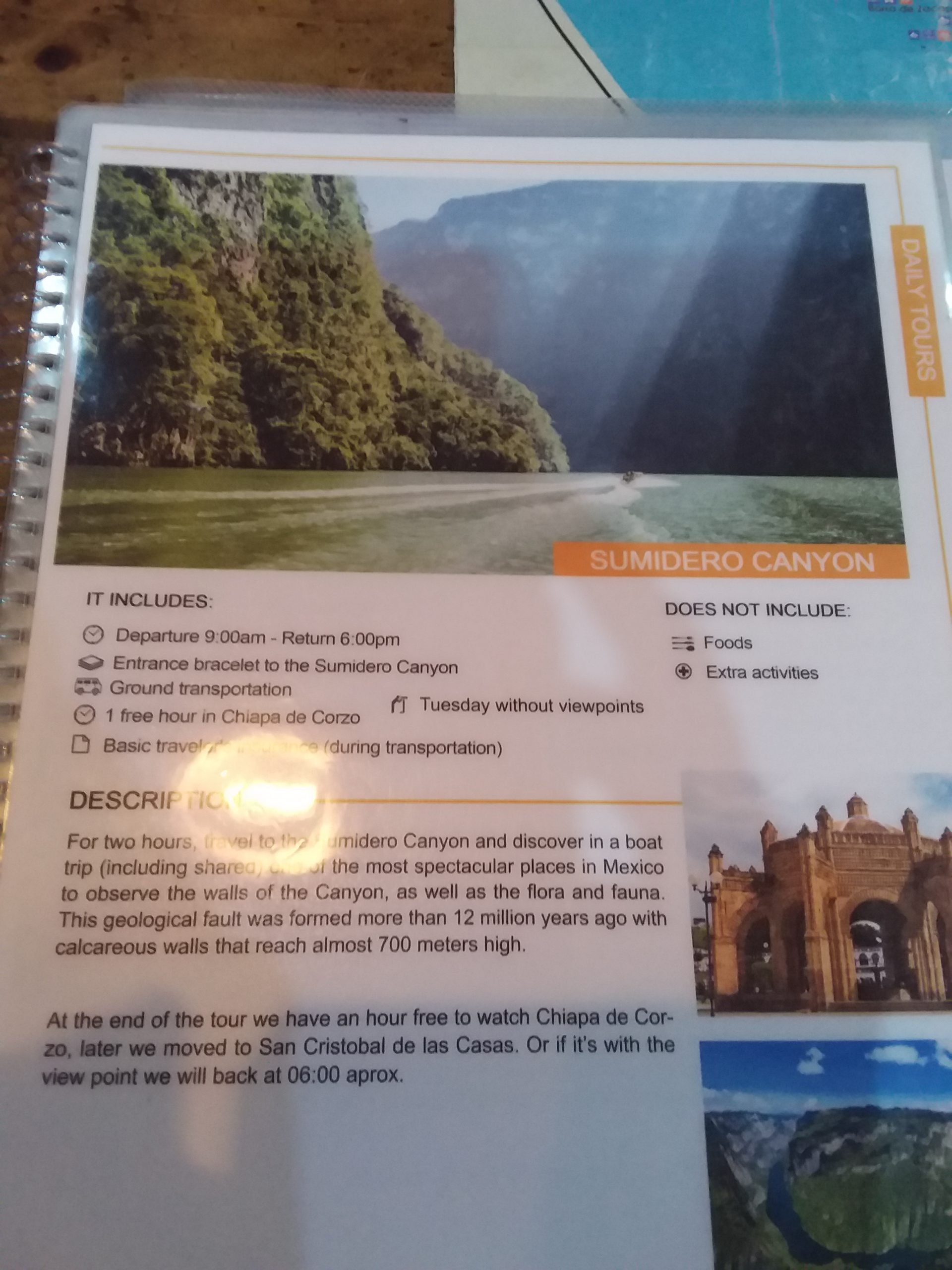 Horaire visite canyon sumidero