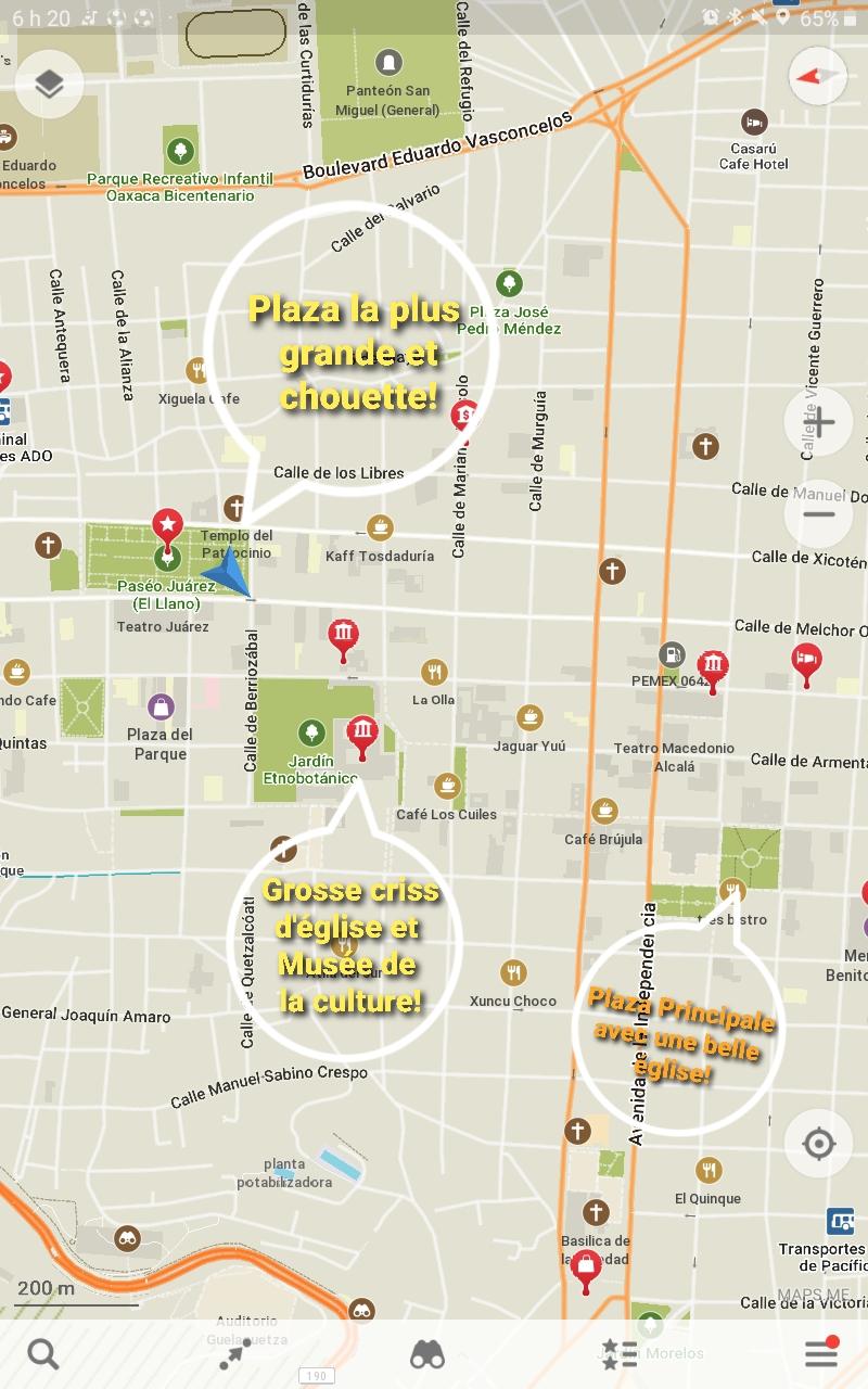 Plan du centre d'oaxaca