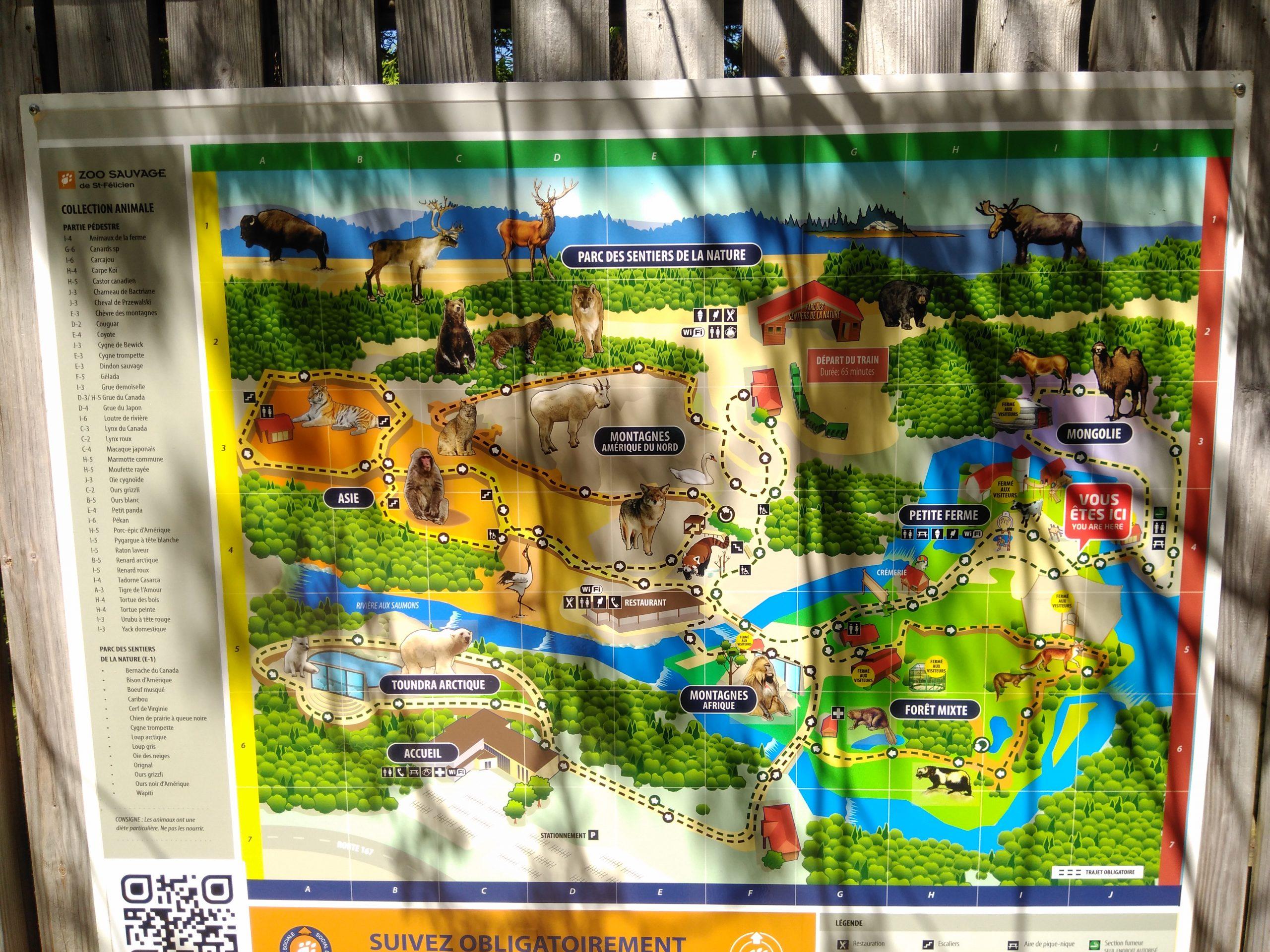 Carte zoo sauvage st-félicien
